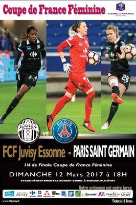 image de couverture de 1/4 de finale de la Coupe de France de football féminin : FCF JUVISY ESSONNE/PARIS SAINT-GERMAIN