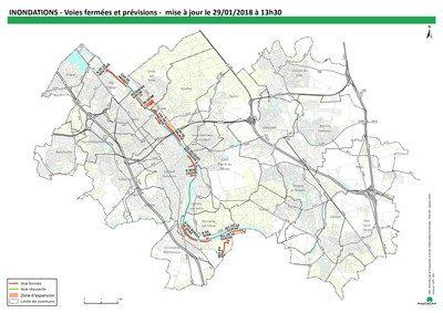Carte des routes fermées (actualisation lundi 13h30)